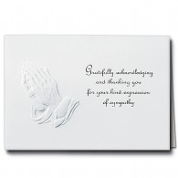 Embossed Praying Hands Acknowledgment Card