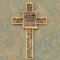 Gold Scroll Cross: 23rd Psalm
