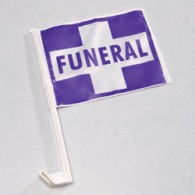 Clip-On Funeral Flag: Purple with White