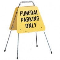 Portable Self Folding Sign: Funeral Parking Only
