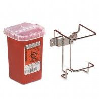 I Quart Sharps Container Shown with Optional Non-Locking Wall Bracket