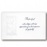 Engraved Calla Lily Acknowledgment Card