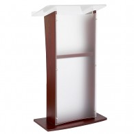 Frosted Acrylic Lectern with Black Cherry/Mahogany