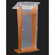 Frosted Acrylic Lectern with Oak