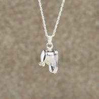 Baby Bootie Pendant: Sterling Silver