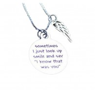 Personalized Circle pendant w/Wing Charm