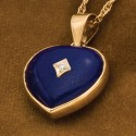 Lapis Lazuli Heart With Diamond Keepsake Pendant