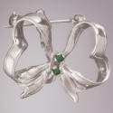 Emerald Ribbon Pin: Sterling Silver