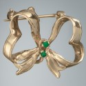 Emerald Ribbon Pin: 14k Gold