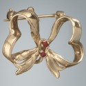 Ruby Ribbon Pin: 14k Gold