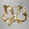 Pearl Ribbon Pin: 14k Gold